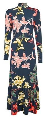 Dorothy Perkins Womens Navy Floral Print Tiered Midi Dress