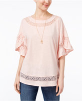 Style&Co. Style & Co Lace-Trim Top, Only at Macy's