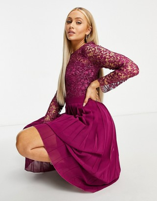Chi Chi London lace top pleated skirt midi dress in berry pink