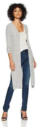 Three Dots Women's Hyannis Stripe Loose Long Cardigan