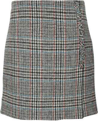 ADAM by Adam Lippes Wrap-effect Houndstooth Wool Mini Skirt