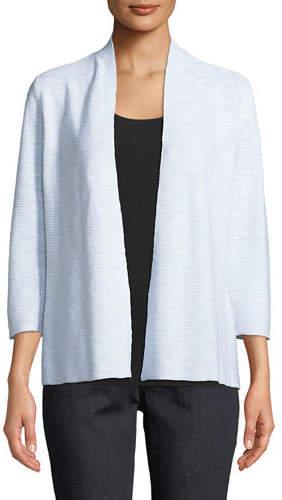 Eileen Fisher 3/4-Sleeve Slub Simple Cardigan