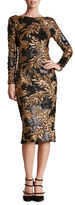 Dress the Population Emery Leaf Sequin Midi Dress