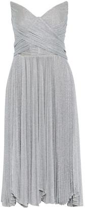 Maria Lucia Hohan Kaira Crossover Pleated Metallic Mesh Midi Dress