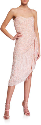 Parker Black Nerissa Beaded Strapless Asymmetric Dress