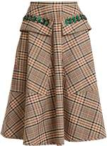 No.21 NO. 21 Sequin-embellished A-line checked cotton skirt