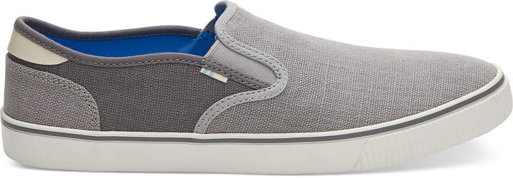 Toms Drizzle Grey And Shade Heritage Canvas Mens Baja Slip-Ons Topanga Collection