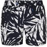Topman Navy Banana Leaf Swim Shorts