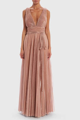Forever Unique Metallic Pleated. Plunge Gown