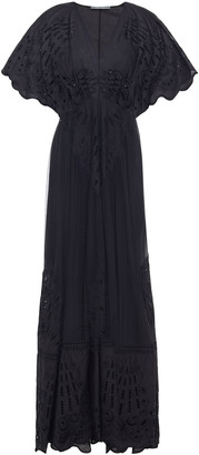 Alberta Ferretti Gathered Broderie Anglaise Silk-chiffon Gown