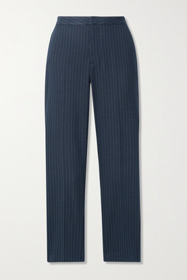 L'Agence Sawyer Cropped Pinstriped Herringbone Woven Slim-leg Pants - Navy