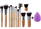 EMAX Design Makeup Brush Set, 12 Pieces Professional Bamboo Handle Cosmetics Brushes And 1 Piece Beauty Sponge Blender