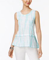 Style&Co. Style & Co Cotton Tie-Dyed Flounce-Hem Top, Created for Macy's