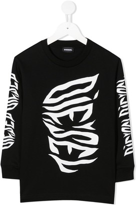Diesel Logo Print Long-Sleeved Top