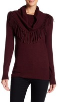 Chelsea & Theodore Long Sleeve Cowl Neck Fringe Pullover Sweater