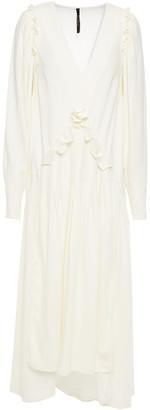 Mother of Pearl Ruffled Crepe Midi Dress