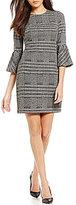 Calvin Klein Plaid Flare Sleeve Shift Dress