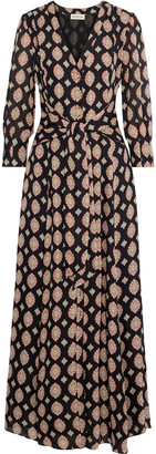Nicholas Noura Tie-front Printed Silk Crepe De Chine Maxi Dress
