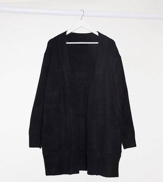 New Look Plus New Look Curve long line rib cardigan in black