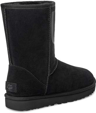 UGG Classic Short Rubber Logo Calf Boots - Black