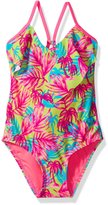 "Roxy Little Girls' Toddler ""Flounced Palm Leaves"" 1-Piece Swimsuit"