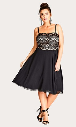 City Chic Eyelash Ebony Dress in Black Size 14/X-Small