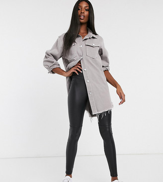 Asos Tall DESIGN Tall leather look legging-Black