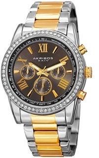 Akribos XXIV Men's Swiss Quartz Swarovski Crystals Dual-Time Stainless Steel Bracelet Watch