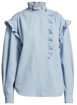 Etoile Isabel Marant Gossia High-Neck Denim Shirt