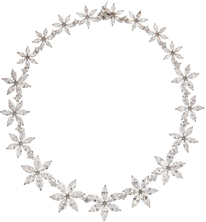 Kenneth Jay Lane CZ by Navette Flower Cubic Zirconia Necklace, Large