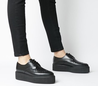 Underground Barfly Creeper Double Sole Flats Black Leather