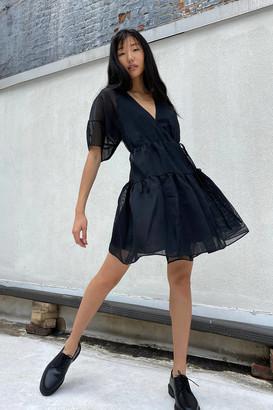 Moon River Tiered Mini Wrap Dress