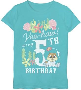 SpongeBob Squarepants Licensed Character Girls' 7-16 Sandy 5th Birthday Tee