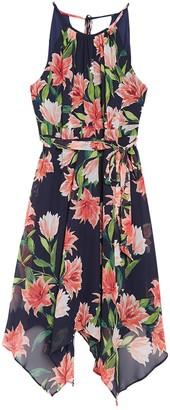 Brinker & Eliza Halter Floral Print High/Low Midi Dress (Plus Size)