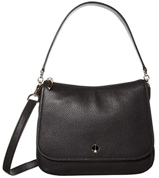 Kate Spade Polly Medium Convertible Flap Shoulder Bag (Black) Bags