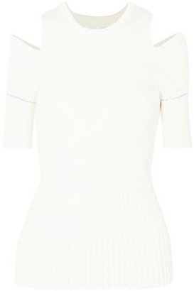 Victoria Beckham Cold-shoulder Ribbed-knit Wool-blend Top