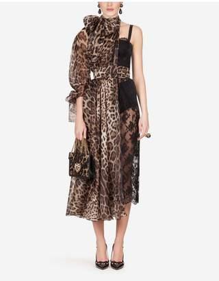 Dolce & Gabbana Long Asymmetric Organza Lace Dress