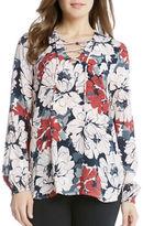 Karen Kane Long Sleeve Floral Lace-Up Blouse