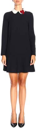 RED Valentino Dress Short Dress With Collar And Jewel Heart