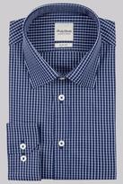 Hardy Amies Slim Fit Navy Single Cuff Check Shirt