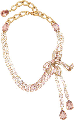 Dolce & Gabbana Christmas Bow Brass and Glass Necklace