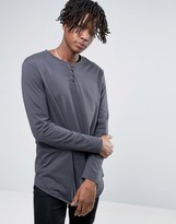 Asos Longline Long Sleeve T-Shirt In Washed Black With Grandad Collar