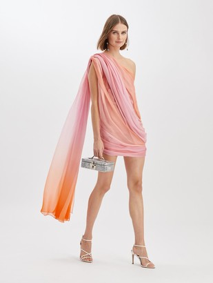 Oscar de la Renta Silk Chiffon Wrap Dress