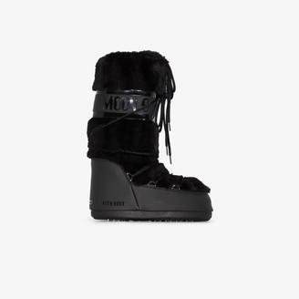 Moon Boot Black Classic Faux Fur Trim Snow Boots