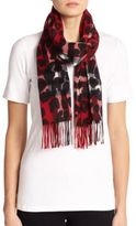 Burberry Cashmere Leopard-Print Check Scarf