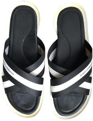 Dolce & Gabbana Black Cloth Sandals