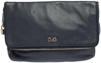 Dolce & Gabbana Blue Leather Lily Twist Fold Over Shoulder Bag