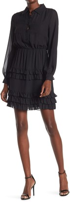 Laundry by Shelli Segal Long Sleeve Ruffled Tiered Shirt Dress