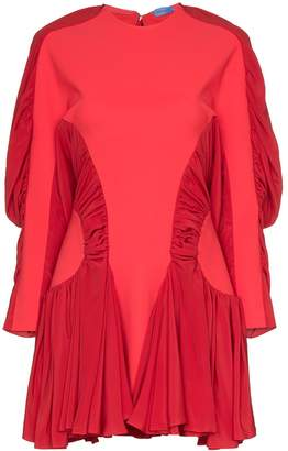 Thierry Mugler ruched sleeve pleated mini dress