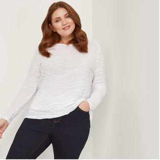 Joe Fresh Women+ Long Sleeve Texture Tee, White (Size 3X)